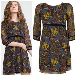 Zara Trafaluc floral dress with velvet trim